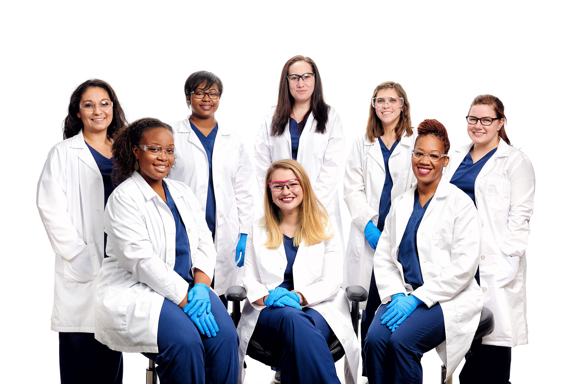 Laboratory staff group portrait at Avertest in St. Louis