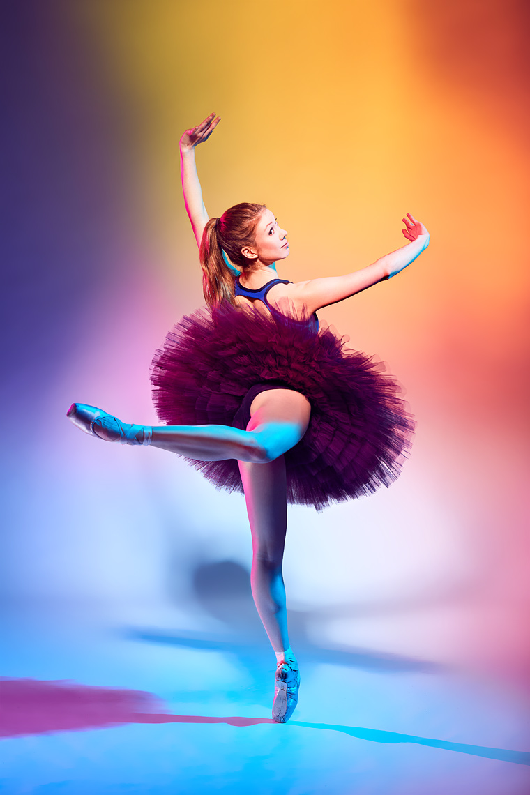 Ballerina shot using colored gels.
