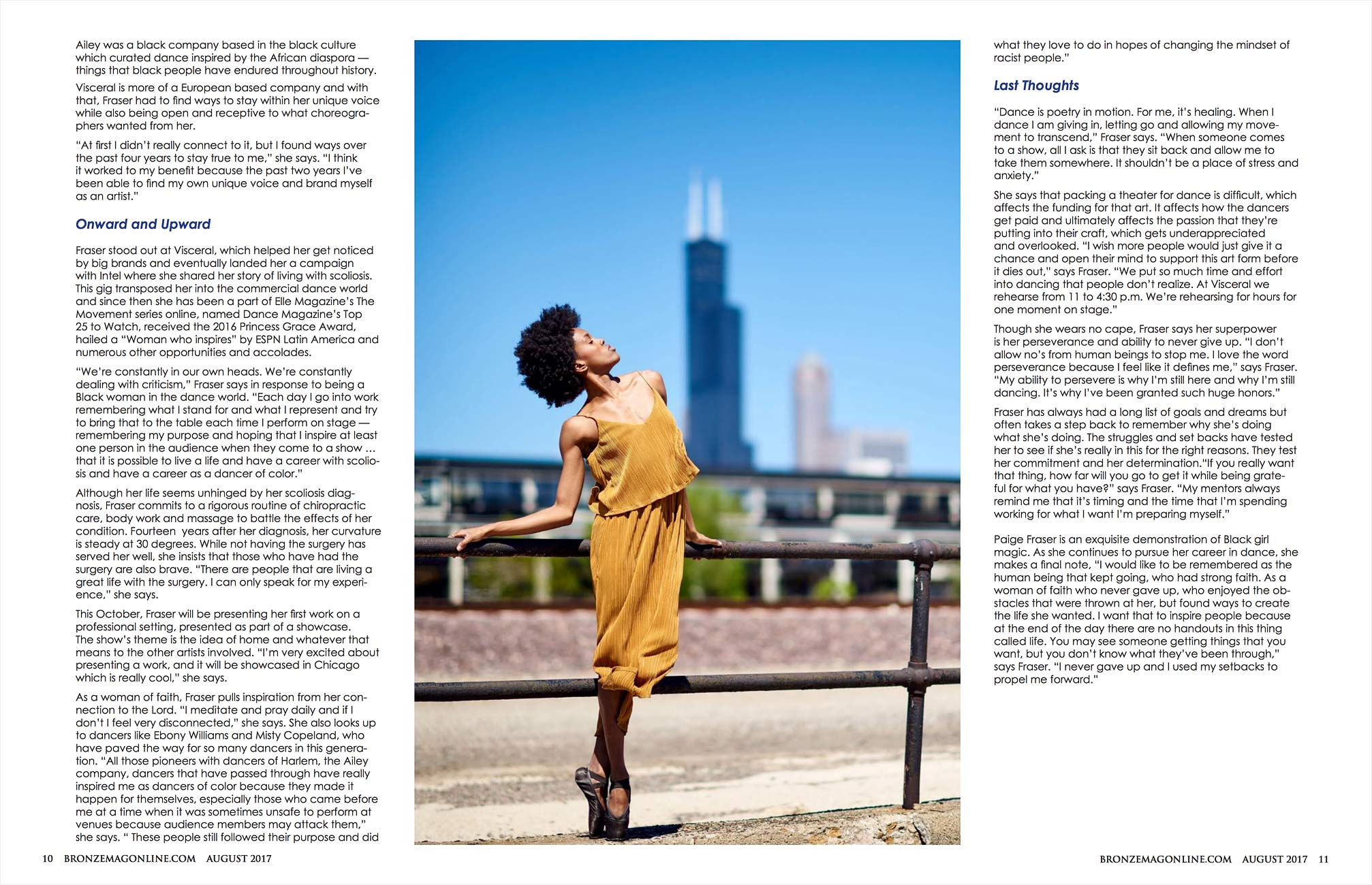 Bronze Magazine with dancer Paige Fraser with Chicago Skyline.