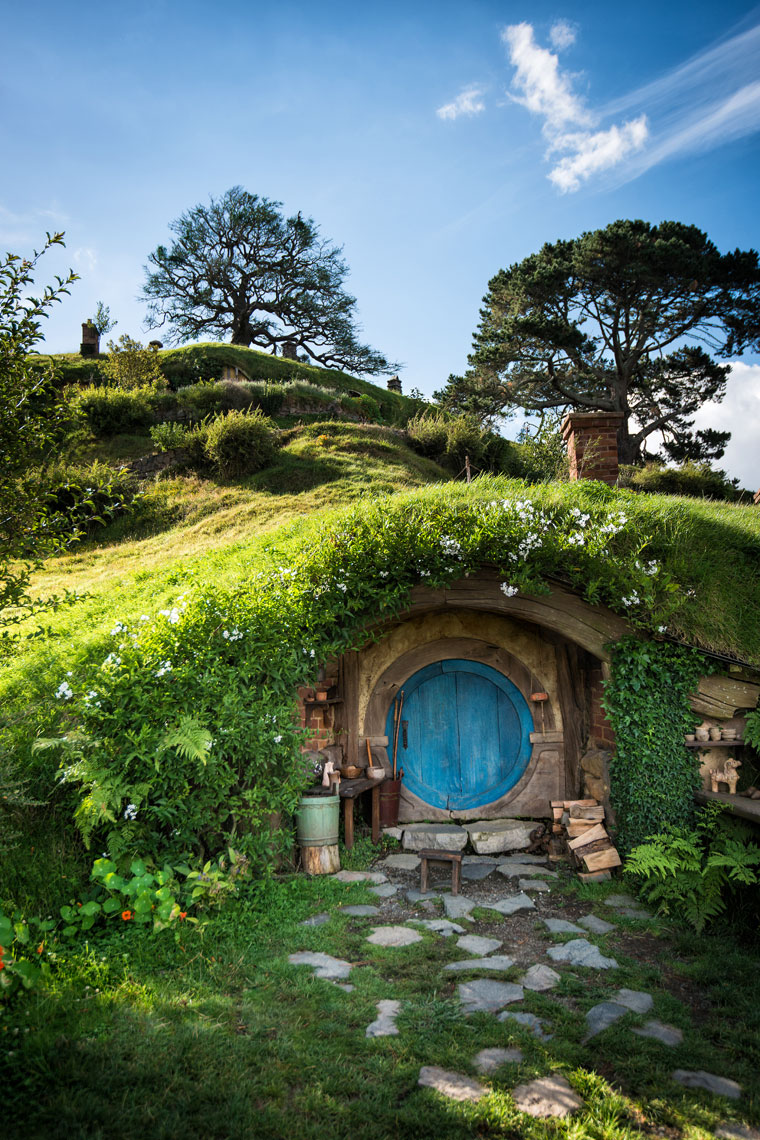 Hobbiton door in New Zealand.