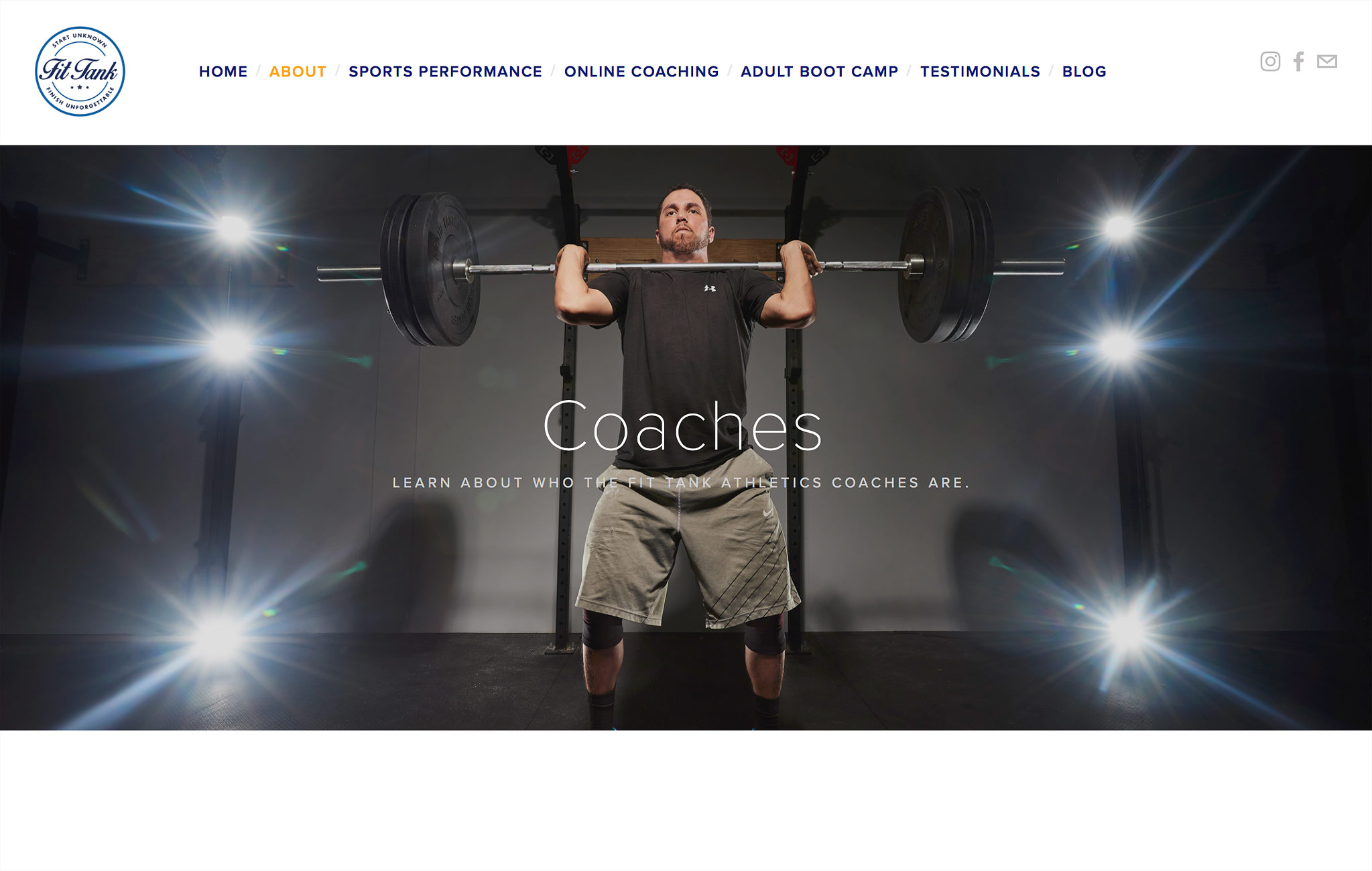 Fit Tank Coaches Website with lift.
