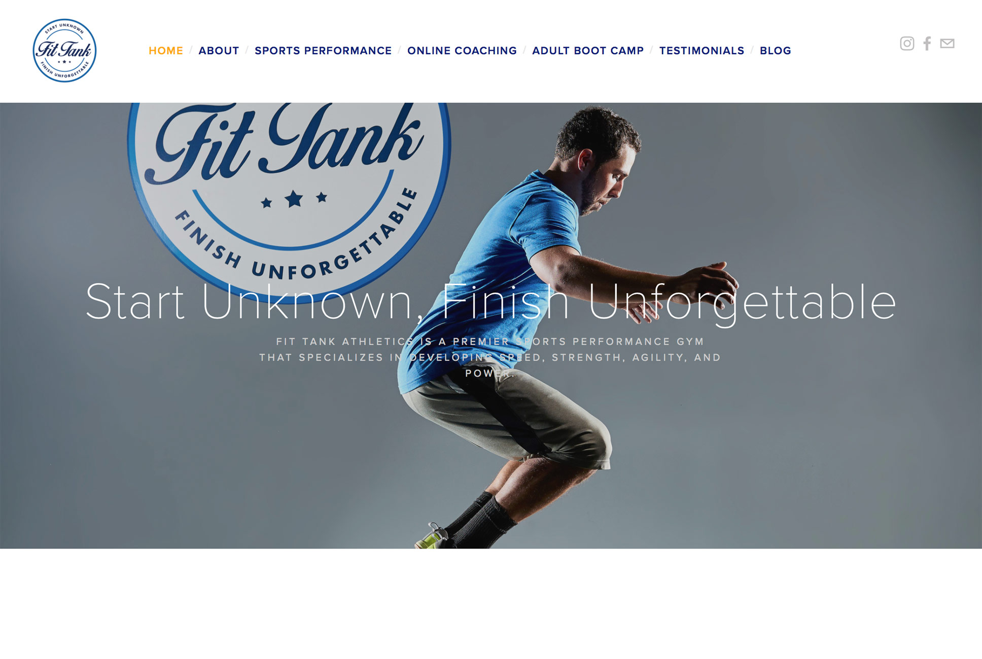 Fit Tank homepage with athlete jumping.