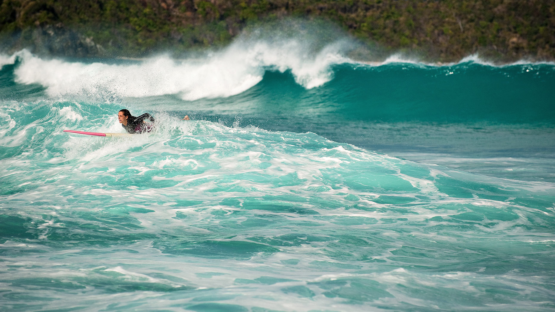 Surfing in Tortola, British Virgin Islands.